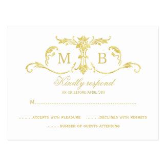Gold RSVP postcards gold foil RSVP wedding set
