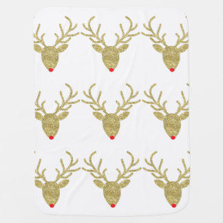 Gold Rudolph Christmas Baby Blanket