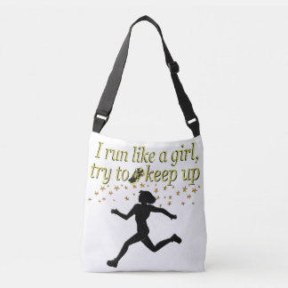 GOLD RUN LIKE A CHAMPION TRACK AND FIELD DESIGN CROSSBODY BAG