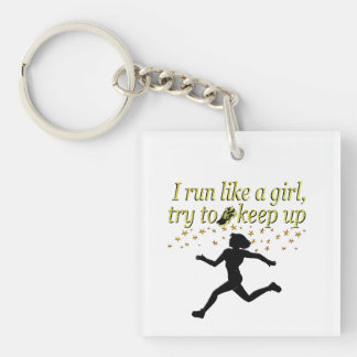GOLD RUN LIKE A CHAMPION TRACK AND FIELD DESIGN KEYCHAIN
