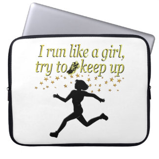 GOLD RUN LIKE A CHAMPION TRACK AND FIELD DESIGN LAPTOP SLEEVE