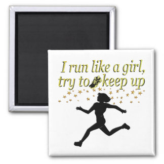 GOLD RUN LIKE A CHAMPION TRACK AND FIELD DESIGN MAGNET