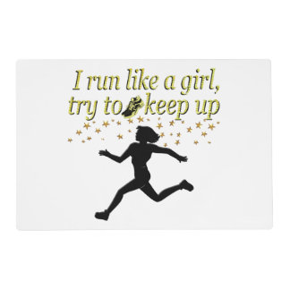 GOLD RUN LIKE A CHAMPION TRACK AND FIELD DESIGN PLACEMAT