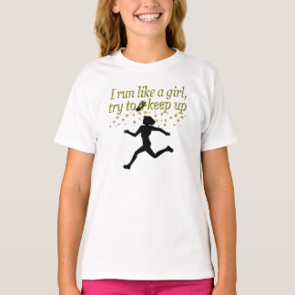 GOLD RUN LIKE A CHAMPION TRACK AND FIELD DESIGN T-Shirt