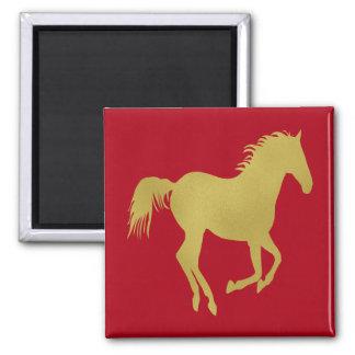 Gold Running Horse on Dark Red Fridge Magnets
