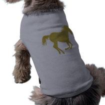 Gold Running Horse on Heather Gray T-Shirt