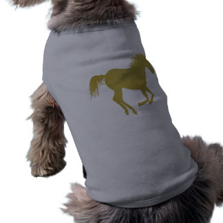 Gold Running Horse on Heather Gray T-Shirt