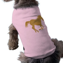 Gold Running Horse on Pink Tee