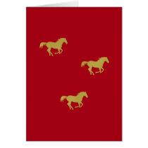 Gold Running Horses on Dark Red Card