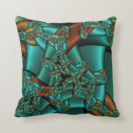 Gold Rust And Teal Fractal Pillow Zazzle Com