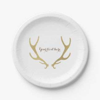 Gold Rustic Antlers Glam Wedding Reception Party Paper Plate