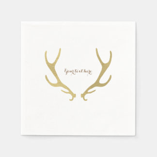 Gold Rustic Antlers Woodsy Glam Wedding Party Paper Napkin