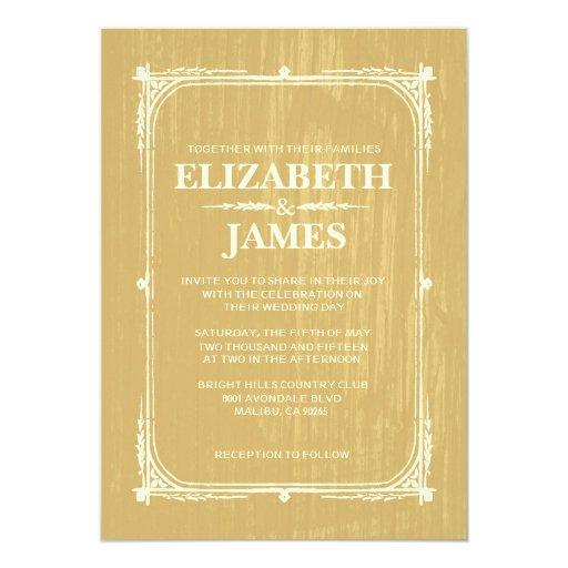 "Gold Rustic Barn Wood Wedding Invitations 5"" X 7"" Invitation Card"