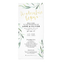 Gold Rustic Eucalyptus Wedding Program