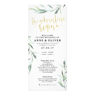 Gold Rustic Eucalyptus Wedding Program
