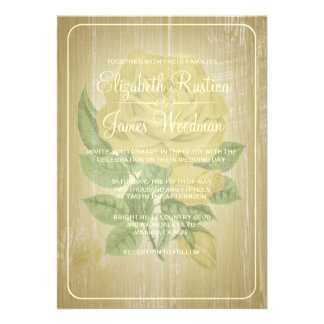 Gold Rustic Floral Wedding Invitations Announcement