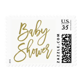 Gold Rustic Hand Lettering Baby Shower Stamp