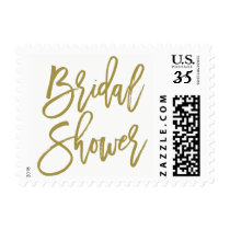 Gold Rustic Hand Lettering Bridal Shower Stamp