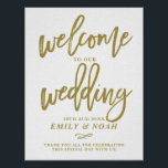"Gold Rustic Hand Lettering Welcome to Our Wedding Poster<br><div class=""desc"">Rustic wedding sign featuring gold modern calligraphy with white background. This design is available in a variety of colors and script style.</div>"