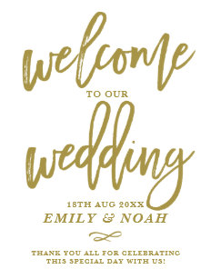Our wedding gifts on zazzle gold rustic hand lettering welcome to our wedding poster junglespirit Choice Image