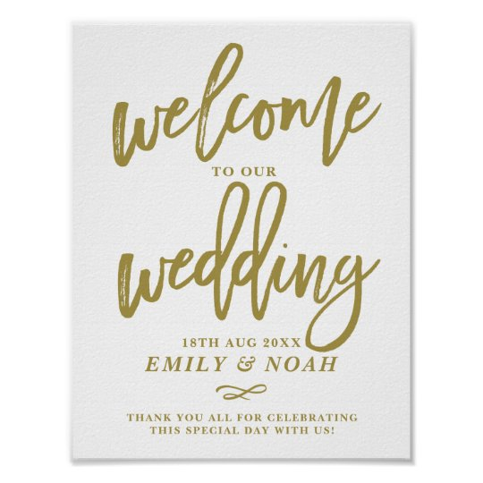 f6bd8eddd8370 Gold Rustic Hand Lettering Welcome to Our Wedding Poster