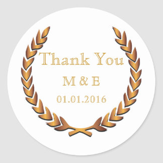 Gold Rustic Laurel Wreath Personalized Thank You Classic Round Sticker