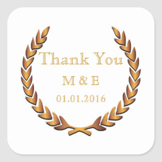 Gold Rustic Laurel Wreath Personalized Thank You Square Sticker
