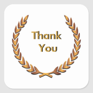 Gold Rustic Laurel Wreath Thank You Square Sticker