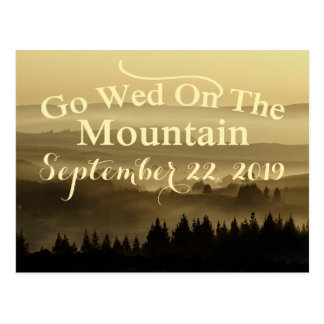 Gold Rustic Mountain Wedding Save The Date Postcard