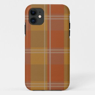 Gold Rusty Red Sage Green Plaid iPhone 11 Case