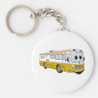 Gold RV Bus Camper Cartoon Keychain
