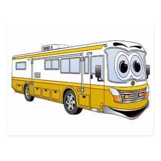 Gold RV Bus Camper Cartoon Postcard