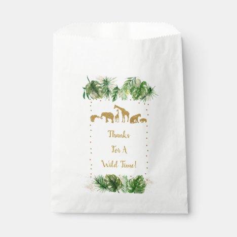 Gold Safari Animal Baby Shower Favor Bag