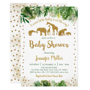 Gold Safari Animal Baby Shower Invitation