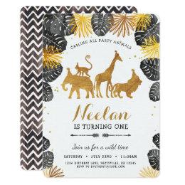 Gold Safari Birthday Invitation