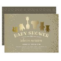Gold Safari Zoo Animals Baby Shower Invitation