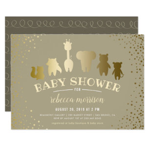 Zoo invitations announcements zazzle gold safari zoo animals baby shower invitation stopboris Gallery