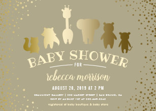 Gold Safari Baby Shower Invitations | Zazzle