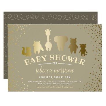 Toddler & Baby themed Gold Safari Zoo Animals Baby Shower Invitation