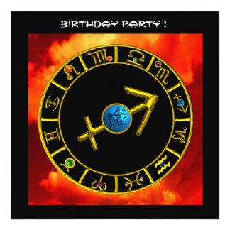 GOLD SAGITTARIUS JEWEL ZODIAC BIRTHDAY SIGNS,Black Card