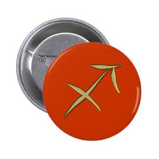 gold sagittarius pinback button