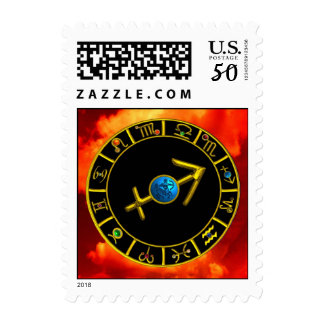 GOLD SAGITTARIUS ZODIAC SIGN JEWEL Astrology Chart Postage