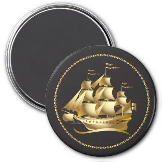 Gold Sailboat Nautical 3 Inch Round Magnet