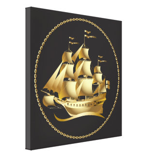 Gold Sailboat Nautical Canvas Print