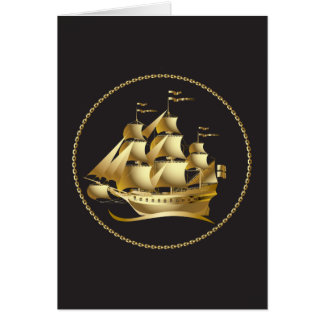 Gold Sailboat Nautical Card