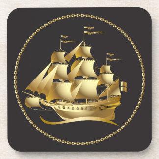 Gold Sailboat Nautical Drink Coaster