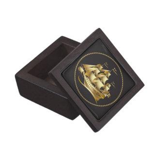 Gold Sailboat Nautical Men's Premium Jewelry Boxes
