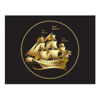 Gold Sailboat Nautical Postcard