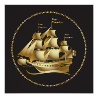 Gold Sailboat Nautical Poster