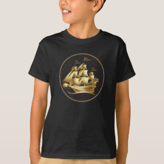 Gold Sailboat Nautical T-Shirt